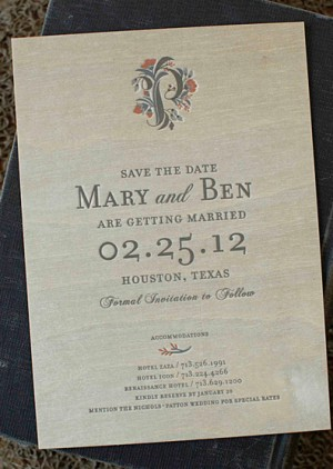 Elegant Woodgrain Letterpress Save the Dates7 300x422 Mary + Bens Elegant and Rustic Wood Veneer Save the Dates