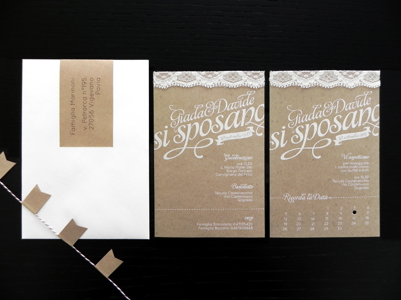 Giada Davides Kraft Paper And Lace Wedding Invitations