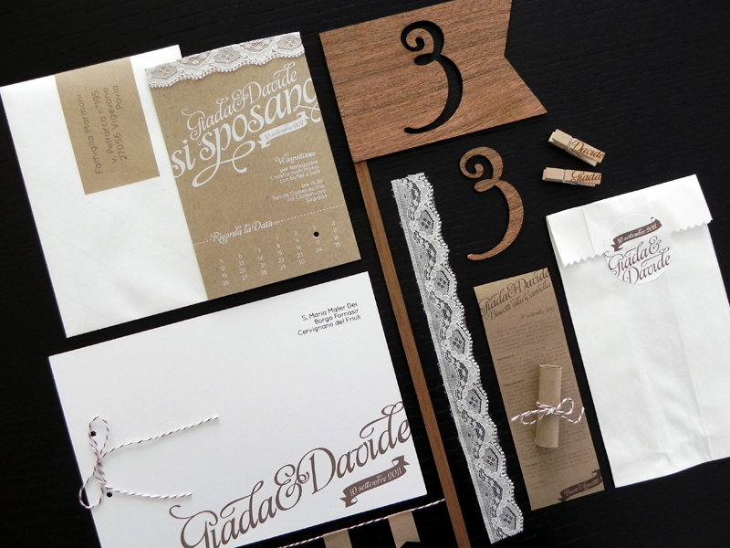 Custom Made Wedding Invitations: Giada + Davide's Kraft Paper And Lace Wedding Invitations