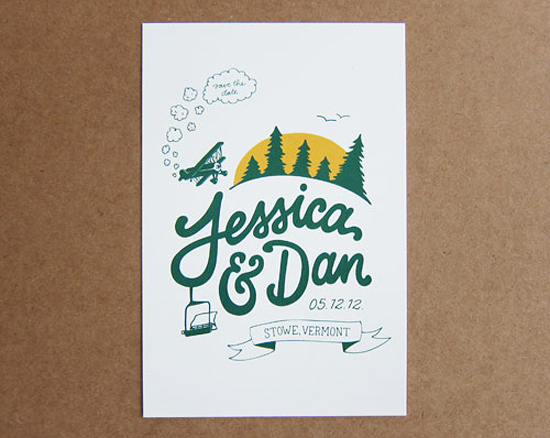 Rustic Evergreen Wedding Save the Dates Scouts Honor Co Scouts Honor Co.