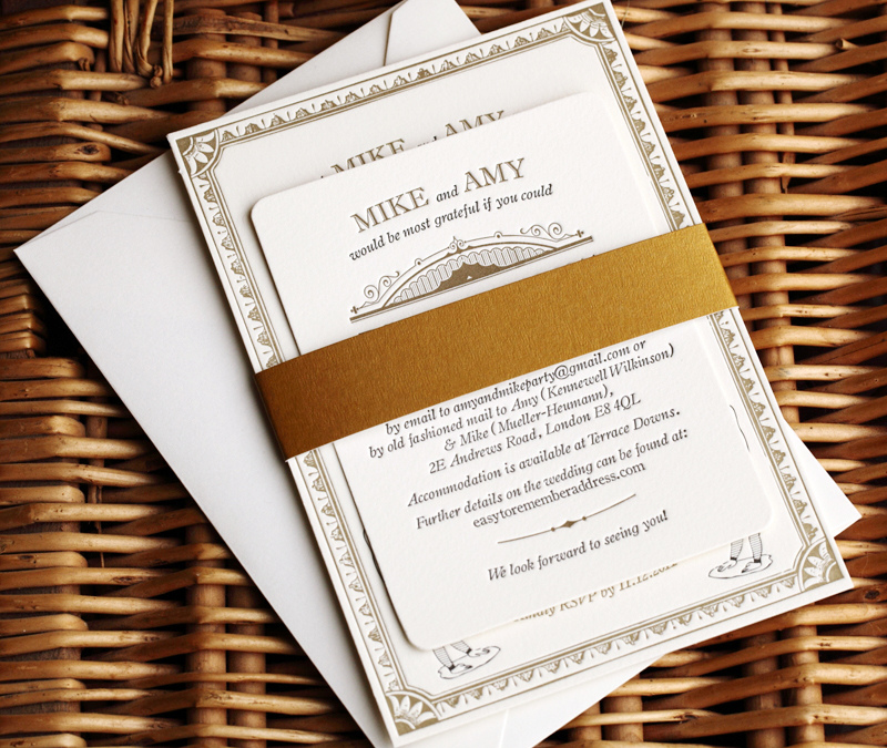 Amy + Mike's Vintage-Inspired Gold Letterpress Wedding