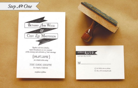 DIY Rubber Stamp Banner Wedding Invitation Tutorial Step 1 550x352 DIY Tutorial: Rubber Stamp Banner Wedding Invitations