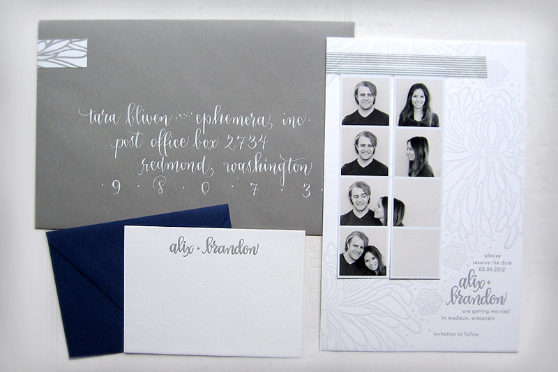 New Alix + Brandon's Photostrip and Letterpress Save the Dates AP96