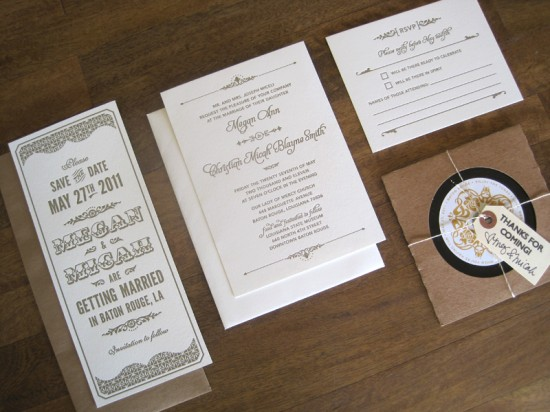 Art Deco Letterpress Wedding Invitations 550x412 Megan + Micahs Metallic Art Deco Letterpress Wedding Invitations