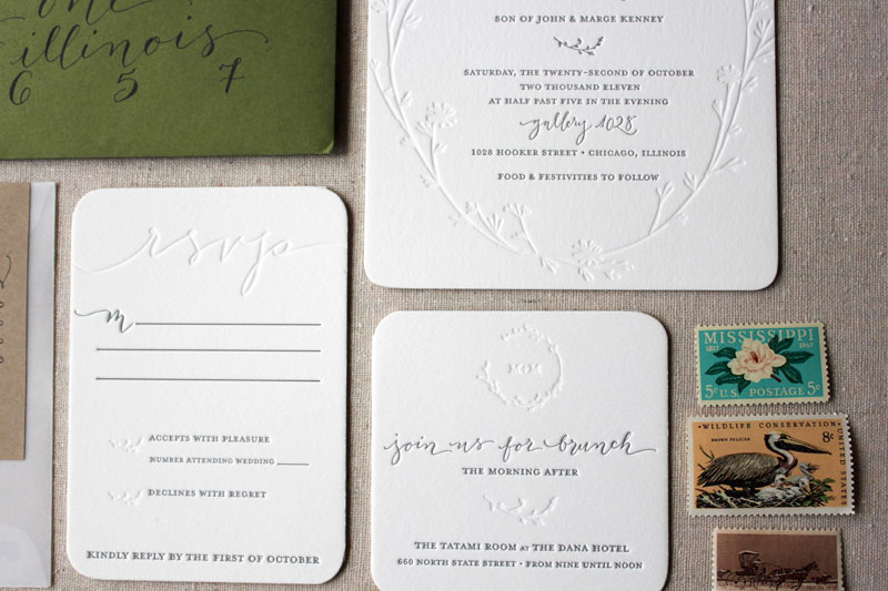 Megan Mikes Modern Organic Chicago Wedding Invitations