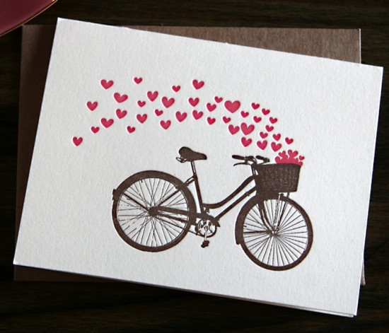 Papersheep Bicycle Valentines Day Card 550x471 Seasonal Stationery: Valentines Day Cards, Part 4