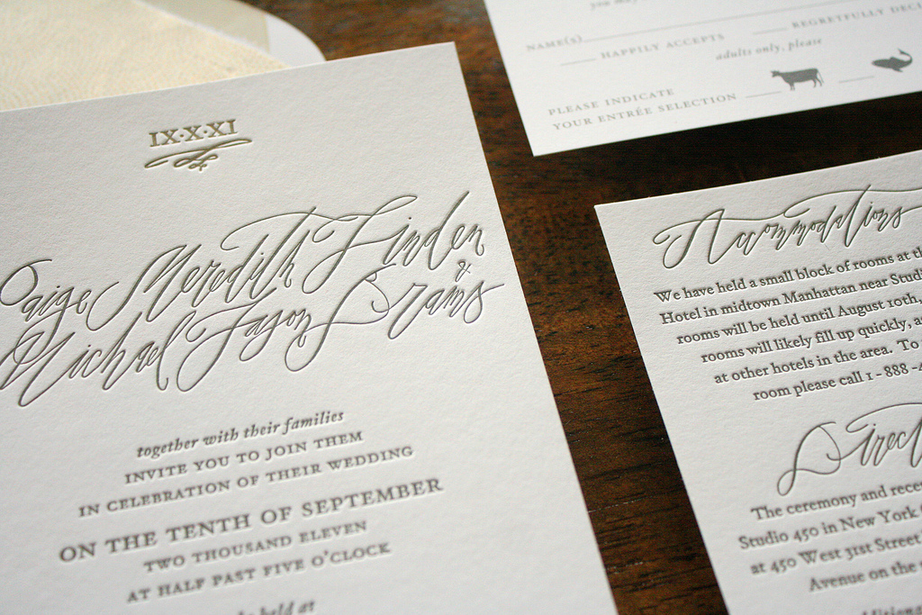 Paige + Michael\'s Elegant Calligraphy Wedding Invitations