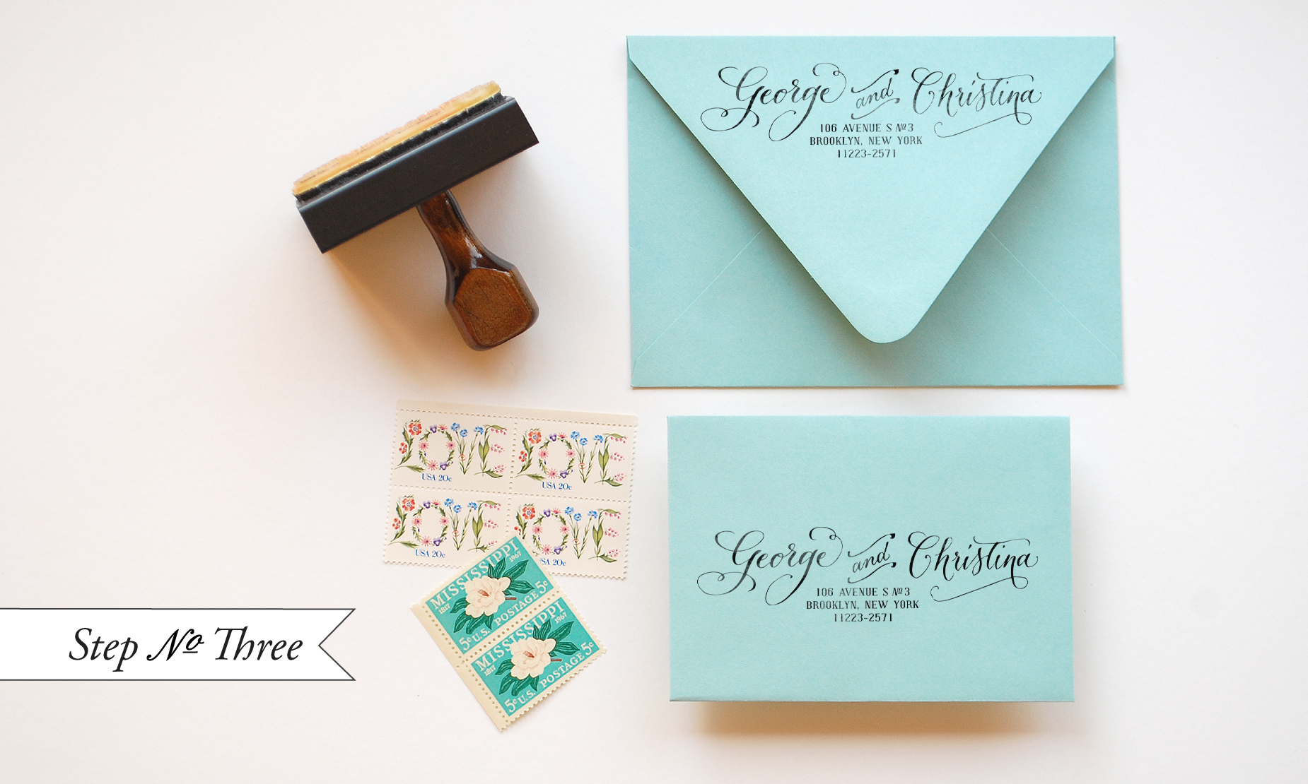 Diy quotlittle blue boxquot inspired rubber stamp wedding for Return address envelopes for wedding invitations