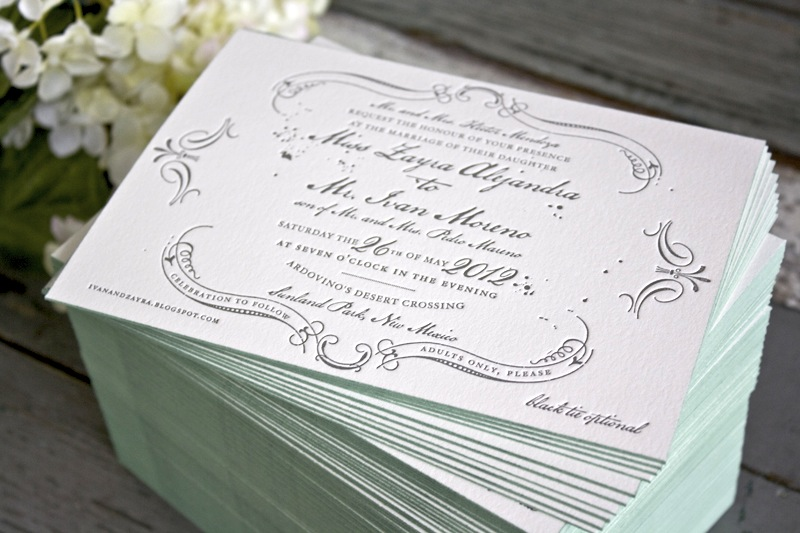 Vintage Inspired Blue Gray Letterpress Wedding Invitations Edge Painting