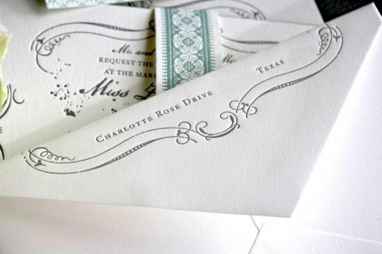 Vintage Inspired Blue Gray Letterpress Wedding Invitations Envelope 550x366 Zayra + Ivans Vintage Inspired Gray + Celadon Wedding Invitations