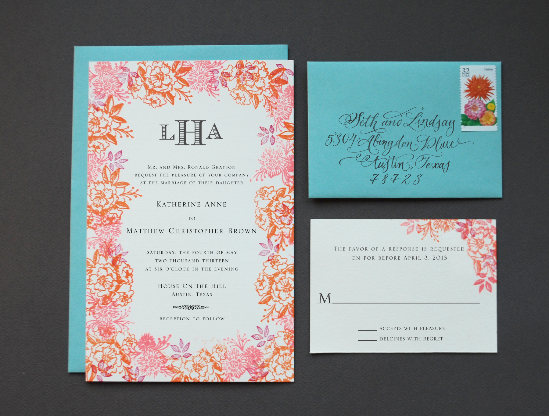 DIY Rubber Stamp Floral Wedding Invitations