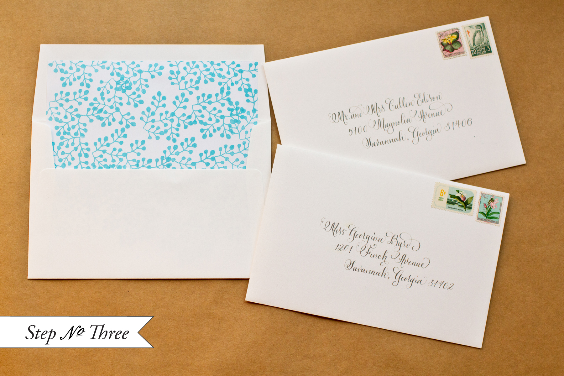 Diy Rubber Stamp Pattern Envelope Liners