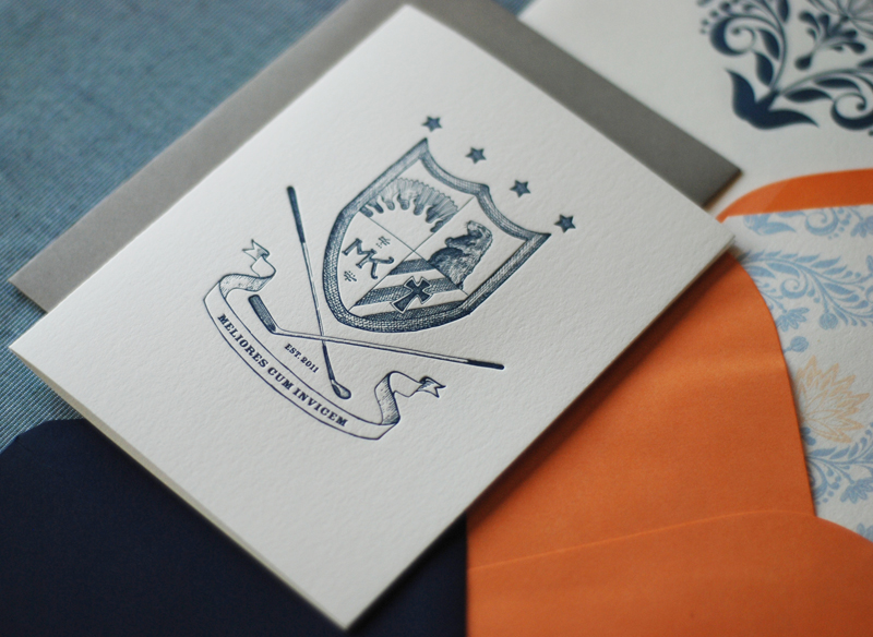 Illustrated Family Crest Wedding Invitations Richie Designs3 550x401 Megan