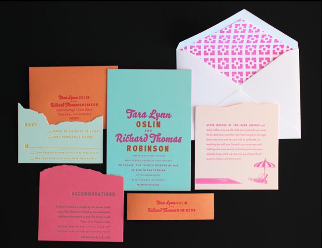 Tara Richs Colorful Palm Springs Wedding Invitations