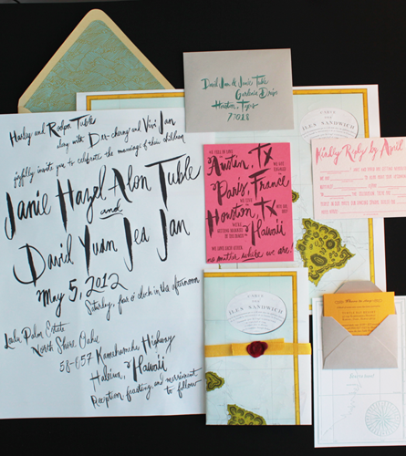 Wedding Invitations With Maps: Janie + David's Oversize Map Destination Wedding Invitations
