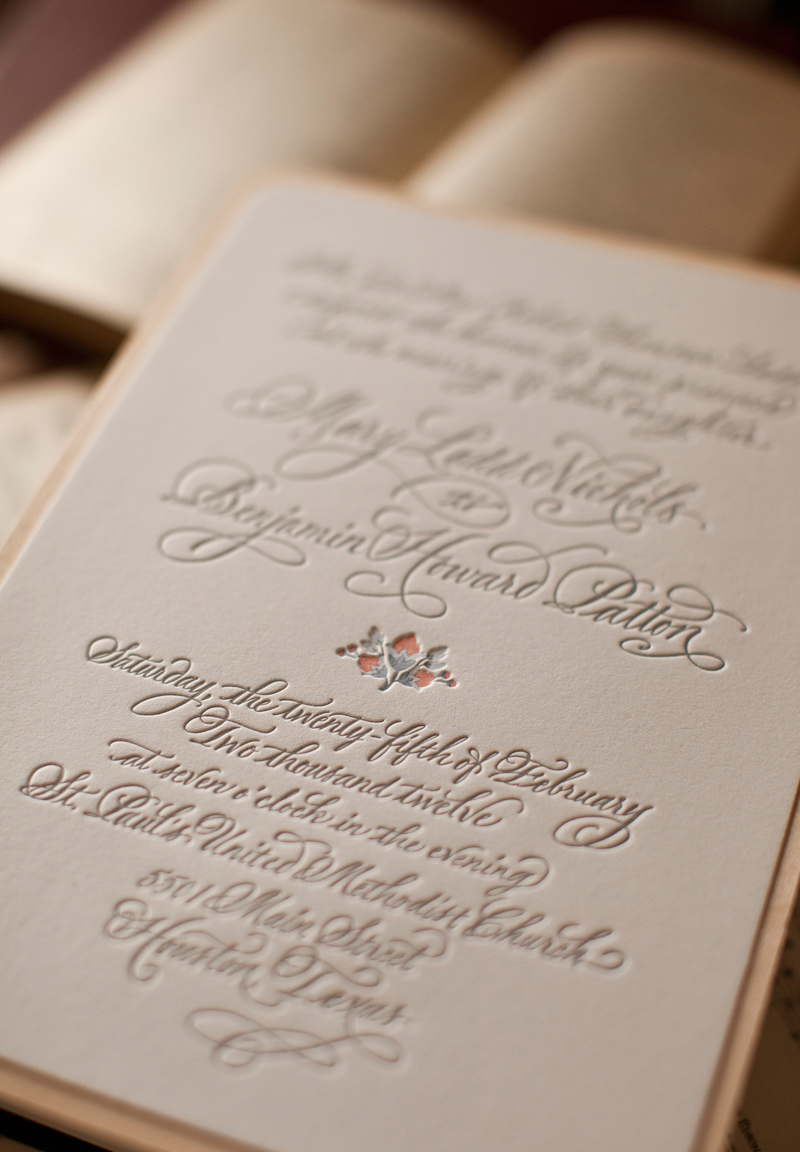 Mary + Ben\'s Elegant and Rustic Letterpress Wedding Invitations