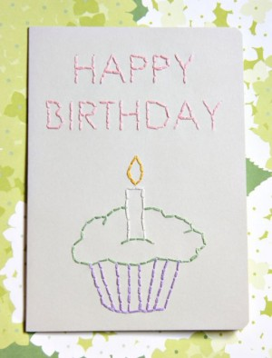 Happy Birthday Hand Embroidered Greeting Card by Crooked Sister