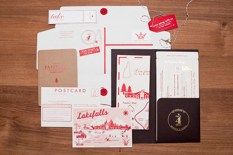 nicole + chris's modern travel-inspired wedding invitations, Wedding invitations