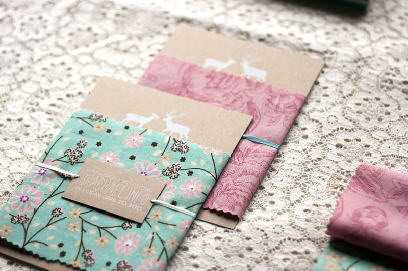 Rachael Brians Woodland And Fabric Wedding Invitations