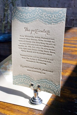 Vintage-Inspired Country Lace Wedding Invitations by Lucky Luxe Couture Correspondence via Oh So Beautiful Paper (6)