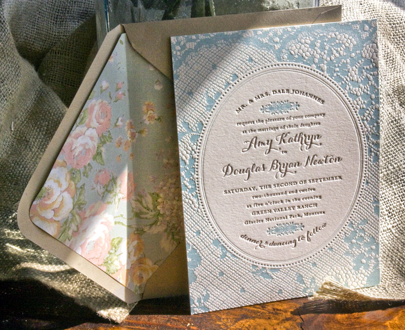 Amy + Doug\'s Western Romance Lace-Inspired Wedding Invitations