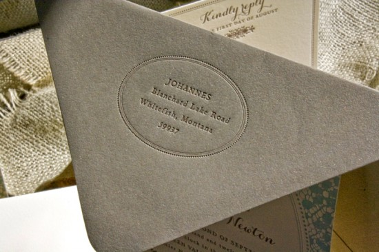 Vintage-Inspired Country Lace Wedding Invitations by Lucky Luxe Couture Correspondence via Oh So Beautiful Paper (1)