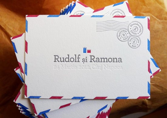 Airmail Wedding Announcements by Campbell Raw Press via Oh So Beautiful Paper (5)