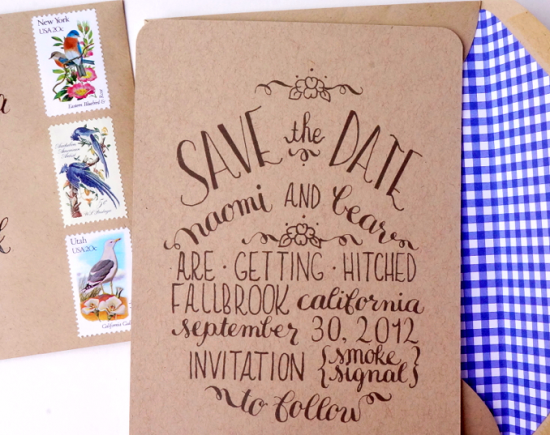 Calligraphy Save the Dates via Oh So Beautiful Paper (3)