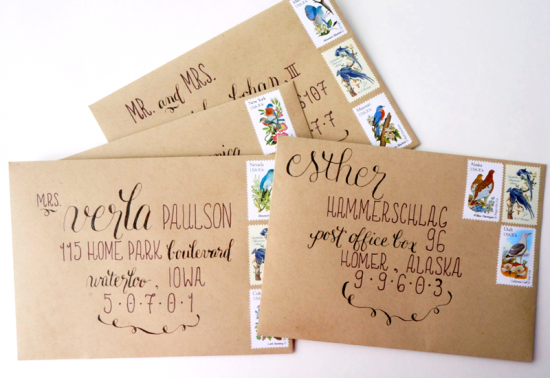 Calligraphy Save the Dates via Oh So Beautiful Paper (1)