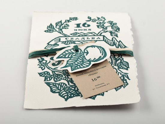 Linocut Wedding Invitations by Elena Bulay via Oh So Beautiful Paper (11)