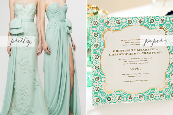 Mint Green And Gold Wedding Invitations: Pretty + Paper