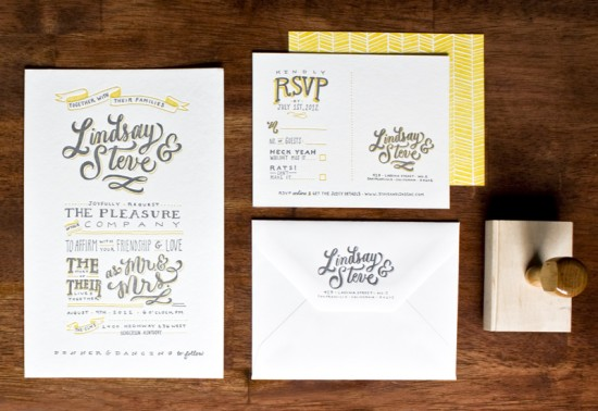 Hand Lettered Wedding Invitations by Molly Jacques via Oh So Beautiful Paper (1)