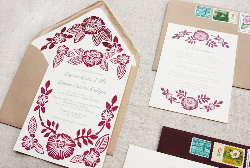 Wedding Invitation Printing.Lauren Arman S Floral Block Printed Wedding Invitations