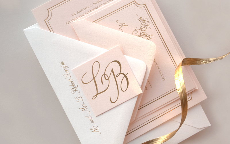 lindsey bradley s elegant pink and gold foil wedding invitations