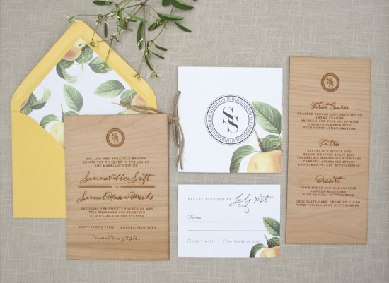 Wood Engraved Wedding Invitations via Oh So Beautiful Paper (8)
