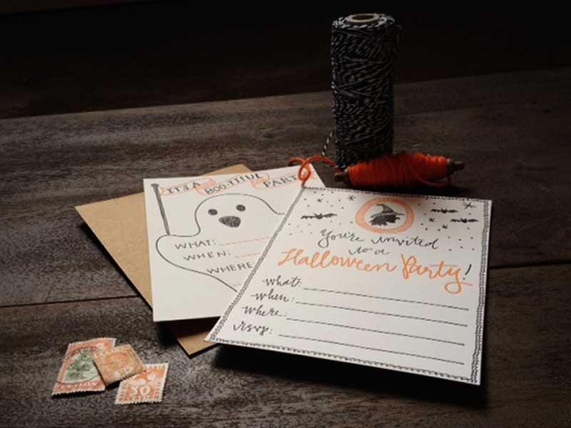 Letterpress Halloween Party Invitations
