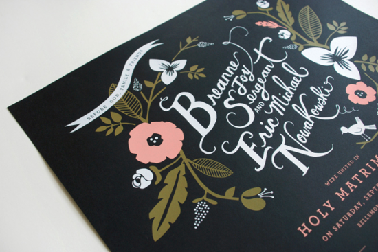 Day-Of Wedding Stationery Inspiration and Ideas: White on Black via Oh So Beautiful Paper (2)