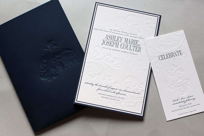ashley beau s classic navy and white wedding invitations