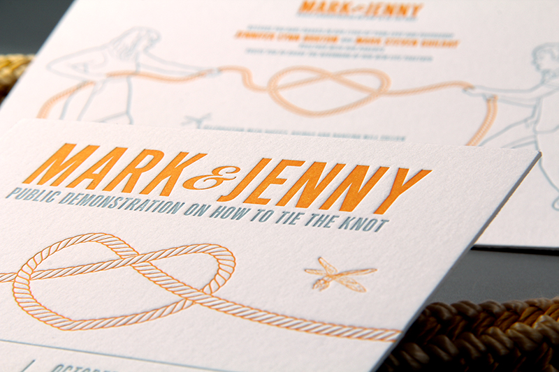 Jenny Marks Tie the Knot Letterpress Wedding Invitations