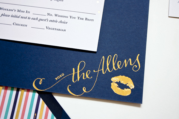 Navy Gold Foil Calligraphy Wedding Invitations – Navy Blue and Gold Wedding Invitations