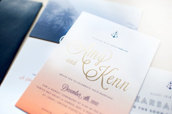 Ombre and Gold Foil Nautical Wedding Invitations by Carina Skrobeck Design via Oh So Beautiful Paper (4)