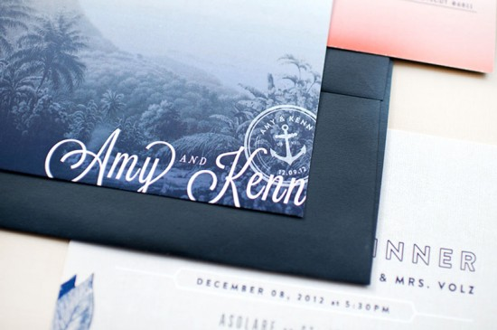 Ombre and Gold Foil Nautical Wedding Invitations by Carina Skrobeck Design via Oh So Beautiful Paper (6)