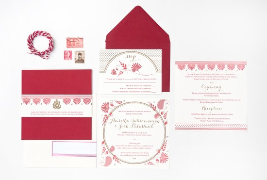 Red and Gold Letterpress Wedding Invitations by Rashi Birla via Oh So Beautiful Paper (7)
