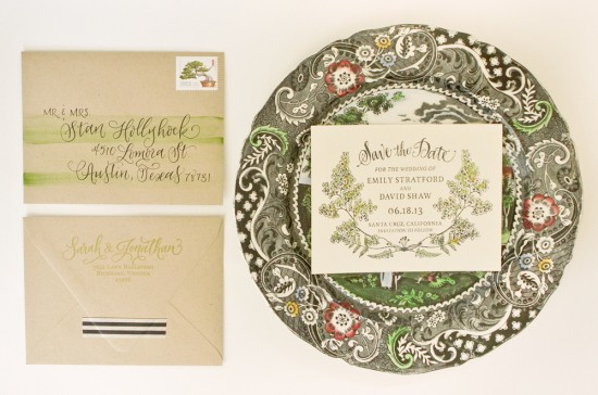 DIY Tutorial: Botanical Watercolor Save the Date by Antiquaria via Oh So Beautiful Paper