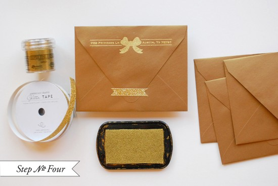 gold 4 550x367 DIY Tutorial: Gold Embossed Save the Dates