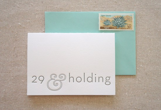 29th Birthday Letterpress Card by Parrott Design Studio