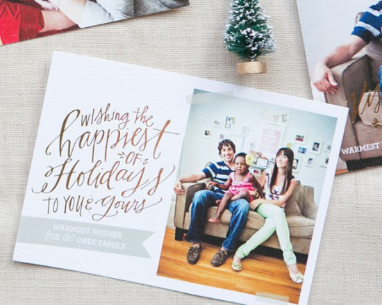 Lindsay Letters Gold Foil Holiday Photo Card via Oh So Beautiful Paper