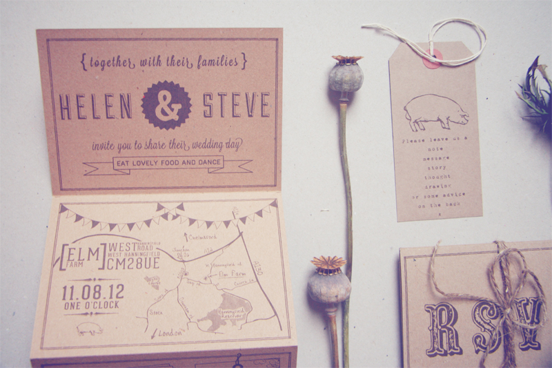 Helen Steves Country Inspired Kraft Paper Wedding Invitations