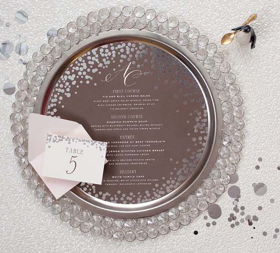 Confetti Menu and Place Card Cheree Berry Edyta Szyszlo Wedding Stationery Inspiration: Confetti