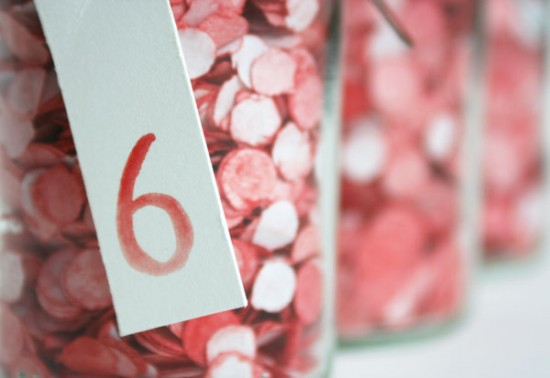 Confetti Table Numbers 550x378 Wedding Stationery Inspiration: Confetti